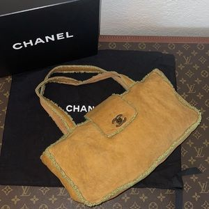 Authentic Chanel sheepskin shearling mini tote bag